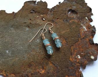 Aquamarine Earrings with Roseoldelementen