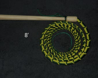 8'  Cow Whip - Emerald Green & Neon Yellow - Paracord