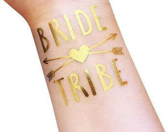 BRIDE TRIBE temporary tattoos | Gold foil BRIDE | Bachelorette party | Wedding party | Favors | Bridesmaid gift