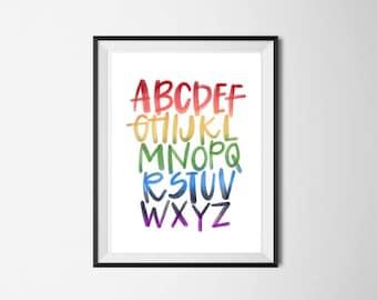 Rainbow Alphabet Print | Kid's Room Art | Hand Lettered | ABC Decor | Nursery Print | Digital Print