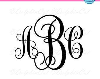 Monogram Font Alphabet, silhouette for cutting, scrapbooking alphabet png, svg, dxf, eps cuttable vine vector, printable files, studio
