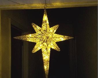 "ESE LED Lighted Christmas Hanging Moravian twinkle Star, sparkling Gold 24"""
