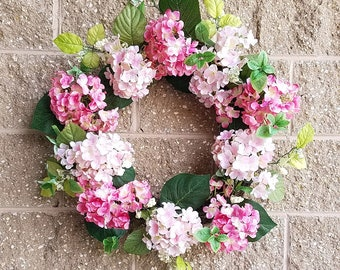 "24"" Hydrangea door wreath, pink"