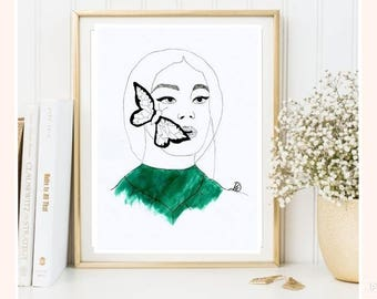 Woman watercolor - draw women watercolor drawing