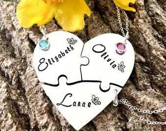 Puzzle Necklace, Heart Necklace, Best Friend Gift, Best Friends, Puzzle Piece, Personalised Gift, Gift for her, Unique Gift, Hand Stamped