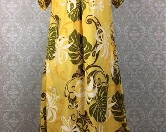 Vintage Royal Creations Yellow Hawaiian Print Dress Moo Moo Small