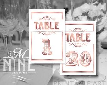 Rose Gold Printable TABLE NUMBERS 1-20 Vintage Wedding Signs, Wedding Sign Downloads, Table Number Signs, Vintage Wedding Décor BWRG38