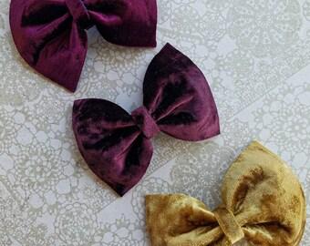 Velvet Mustard Burgundy Plum Bow Headband