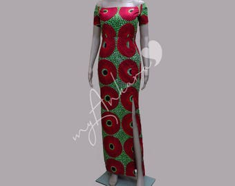 Long African Print Dress with Thigh-High Slit