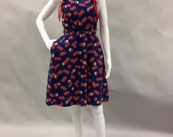 1970's does 1950s Rockabilly Navy Blue Apple Print Dress Size Small or 6 | Pockets | Back Zipper