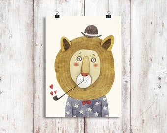 A4 Hipster Lion! Animals, Housewarming, Bedroom, Gifts, Wall Decor, Home Decor, Childrens Room, Hipster