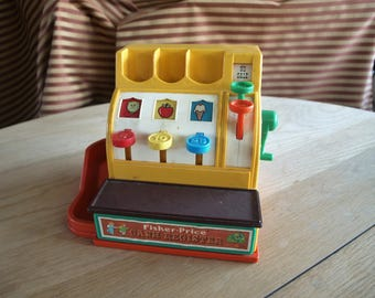 Vintage 1974 Fisher Price Cash Register #926 with Coins