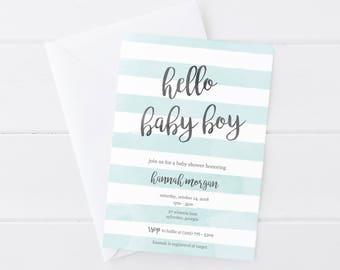 Boy Baby Shower Invitation, Printable Baby Shower Invitation, Blue and Gray Baby Shower Invitation, Baby Boy Invitation, Boy Baby Shower