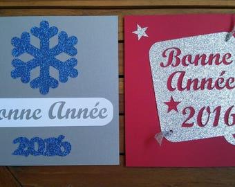 Greeting card happy new year 2016 glitter