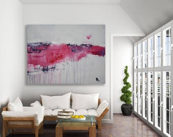 Pink and Grey Abstract Painting / Large Abstract Art / Modern Art / Pink and Grey Art / Modern Pink Painting