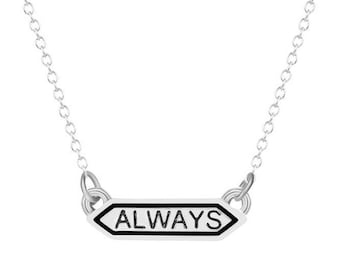 Harry Potter Hogwarts Always Snape mini banner necklace. Deathly Hallows, dumbledore, magic, witch, wizard, patronus, lily, ron, hermione.