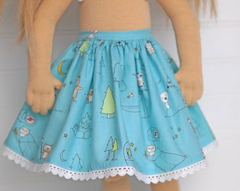 Summer time camp out DOLL skirt