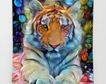 Tiger Tapestry, Animal Tapestry, Tiger Wall Hanging, Animal Wall Hanging, Big Cat Tapestry, Feline Tapestry, Wall Hanging, Wall Decor, Cute