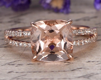 18k Rose gold Morganite engagement ring with diamond,promise ring for her,anniversary ring,8x8mm Cushion custom made fine jewelry,Prong set