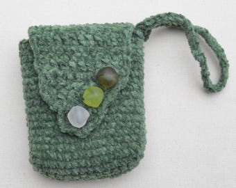 green small cotton chenille crochet bag with toning bead closures