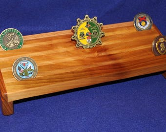 Rustic Military Unit/Challenge Coin mixed wood Desktop Display (24 coin)