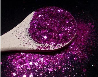 "Glitter ""Fuchsia"" 10 grams - high quality - hobby - Solvent resistant, slime, jewelry, resin and resin, UV, DIY nail art"