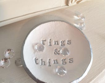 Clay Ring Dish - Jewellery storage, handmade, personalised, rings and things, metallic, birthday, Gifts for her, Gifts for Mum, weddings