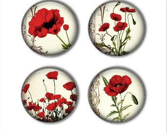 Poppies magnets or pins, flower magnets, flower pins, refrigerator magnets, fridge magnets, office magnets (2)