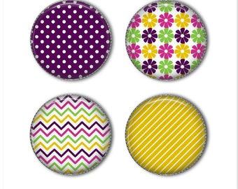 Patterned magnets, colorful magnets, flower magnet, stripe magnet, polka dot magnet, refrigerator magnets, fridge magnets, office magnets