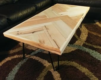 Handmade Coffee Table with Herring Bone Pattern and Steel Hairpin Legs