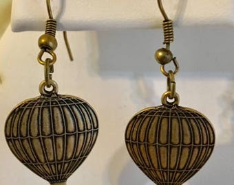 Antiqued Brass Hot Air Balloon Earrings