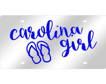 Carolina Girl Flip Flops Mirrored Acrylic License Plate