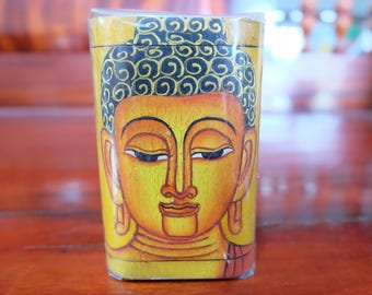 Wooden Hand Painted Buddha Box (small)