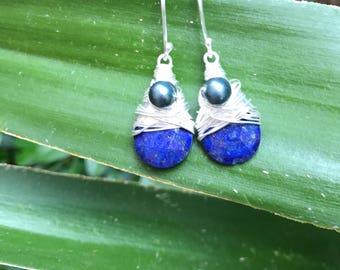 Lapis  drop Earrings - wire wrapped Earrings,pearl  Earrings - Blue Stone Earrings - Lapis Jewelry, Sterling lapis earrings,gift for her