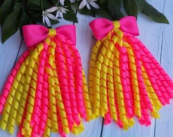 Korker Bow Korker Hair Bow Korker Clip Pink Yellow Korker Bow Pink Korker Cip Birthday Bow Baby Bow Streamer Bow Summer Hair Bow Girl Bow