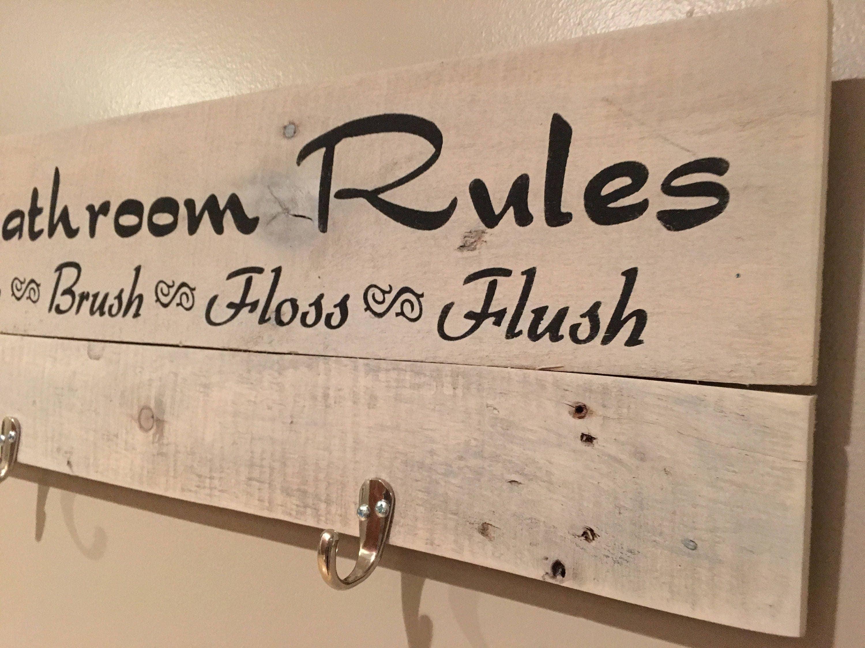 Rustic Sign Bathroom Rules Bathroom Decor Bathroom Signs - Bathroom signs for home