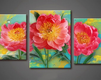 Peonies wall Art, Art Print on Canvas,Extra Large Wall Art , Canvas Art, Home Art, Living Room Flower Picture, 3 piece wall art
