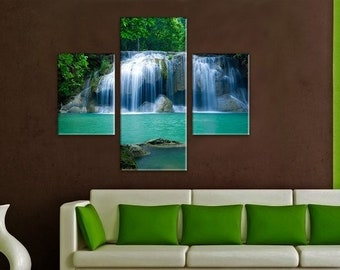 Waterfall Wall Art, Large Canvas art, Interior Art, Room Decoration, Extra Large Wall decor 3 Panel Canvas, Photo Print on Canvas
