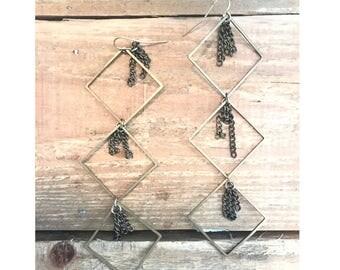 Skylar- handmade, chandilier, brass earring