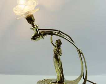 Antique Art Nouveau Lamp, Newel Post Lamp. Early 1900's