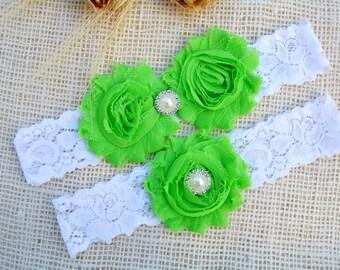 Bridal Garter Set, Bridal Garter Belt, Lime Wedding Garter, Keepsake Garter, Toss Garter, Green Wedding Garter, Lime Garter Set, Lace Garter