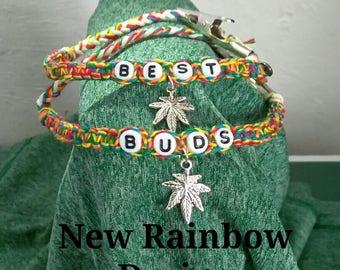 Best Buds Friendship Bracelet Sets with Leaf Charm & Alligator Clip
