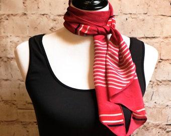Vintage Silk Scarf, Long Scarf, Head Scarf Hair Wrap, Striped Scarf, Red Scarf, Nautical Scarf, Neck Scarf, Boho Scarf, Bohemian Scarf