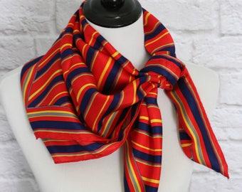Vintage Silk Scarf, Magid Silk Scarf, Square Scarf, Striped Scarf, Red Scarf, Head Scarf Hair Wrap, Head Scarf Chemo, Head Covering