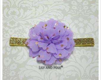 Lavender and gold headband, gold polka fluffy flower on gold glitter elastic headband, soft baby headband, toddler headband, photo prop