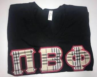 Pi Beta Phi Sorority American Apparel V-neck Letter Shirt Size L Burberry Plaid Print