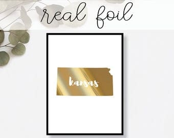 Kansas State Print // Real Gold Foil // Minimal // Gold Foil Print // Decor // Modern Office Print // Typography // Fashion Print