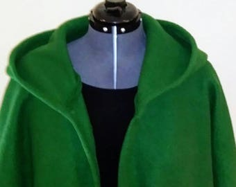 Green Hooded SweaterJacket Open Front One Size