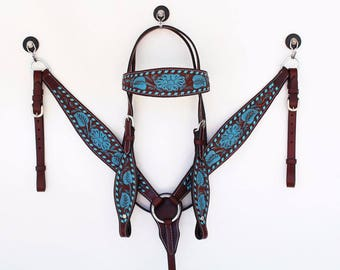 Buck Stitched Hand Tooled Turquoise Floral Western Show Leather Trail Barrel Racing Racer Bridle Headstall Breast Collar Tack Set