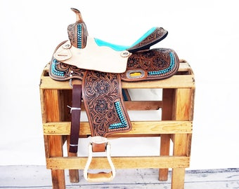 "15"" Teal Buck Stitched Western Horse Pleasure Trail Barrel Racer leather Saddle"